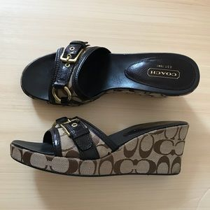 COACH jewel sandal wedges